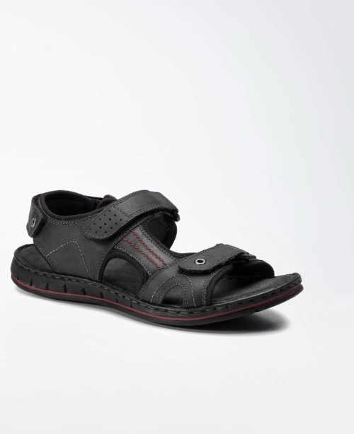 Čierne pánske sandále z kože