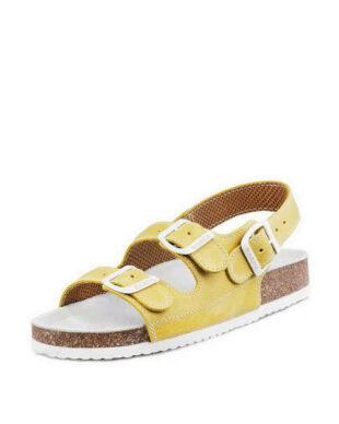 Detské sandále v žlto-bielom prevedení