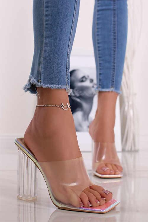 Strieborno-transparentné papuče na podpätku