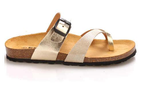 Zlaté dámske kožené zdravotné papuče EMMA Shoes