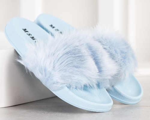 Chlpaté dámske papuče lacno