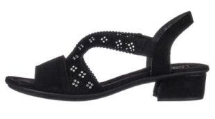 Čierne dámske sandále RIEKER zdobené kamienkami