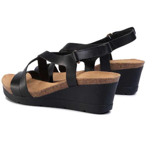 Čierne kožené remienkové sandále