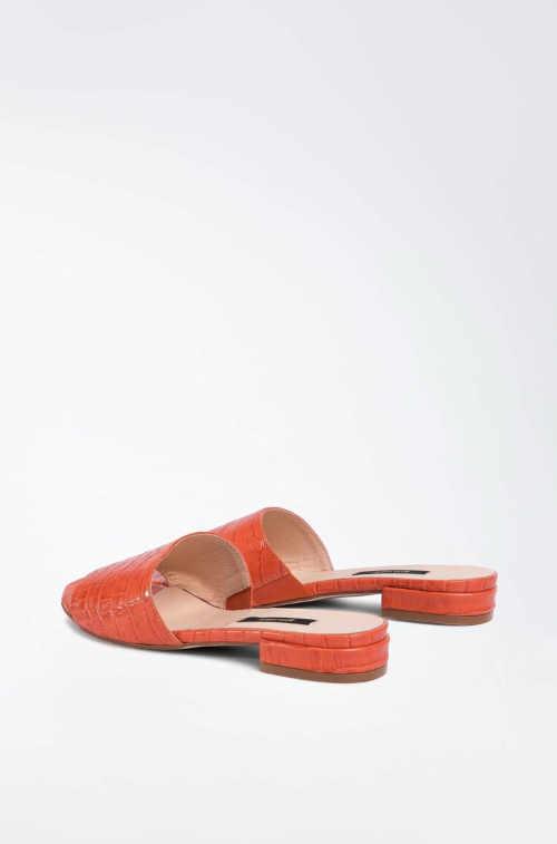 Dámske kožené oranžové šľapky