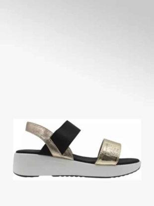 Moderné sandále na kline v čierno-zlatej kombinácii
