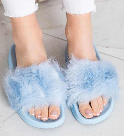 Modré chlpaté dámske domáce papuče