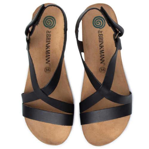 Páskové kožené sandále čierne