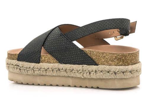Vysoké korkové sandále s čiernymi pásky