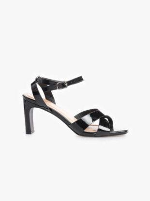 Dámske lakované sandále na vysokom podpätku