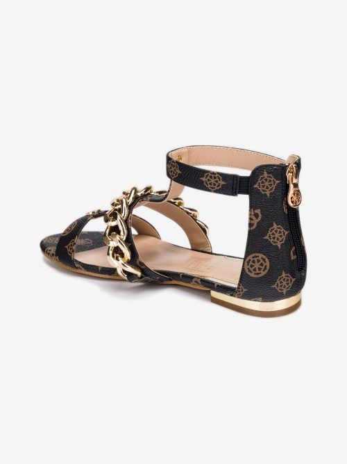 Hnedo-čierne dámske sandále