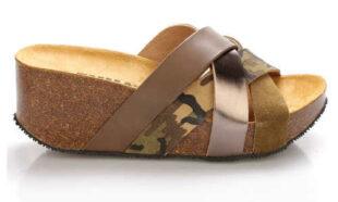 Kožené dámske papuče na vysokej platforme EMMA Shoes