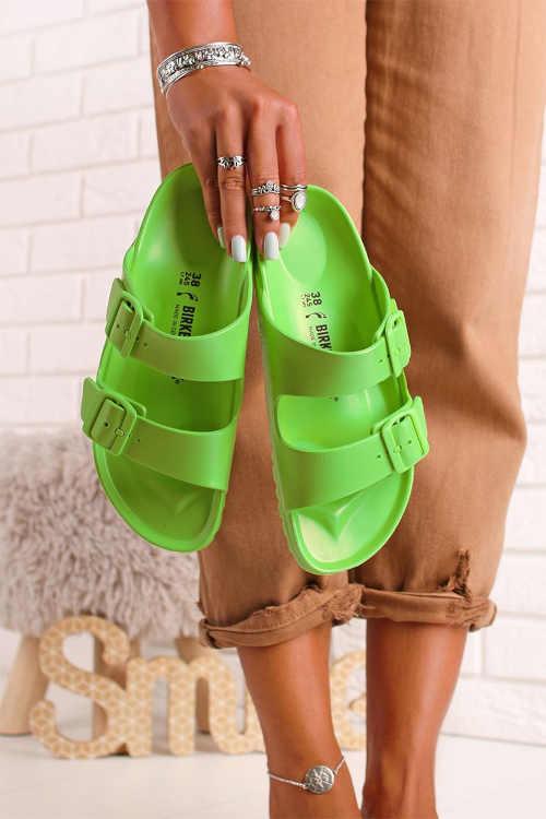 Zelené moderné dámske šľapky
