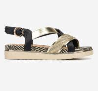 Čierno-zlaté sandále s nízkym klinom