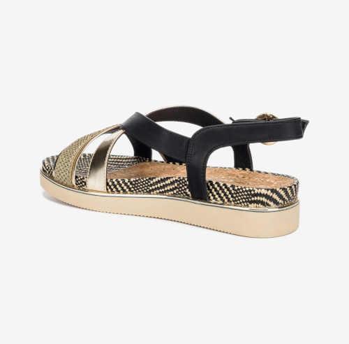 Dámske elegantné čierno-zlaté sandále