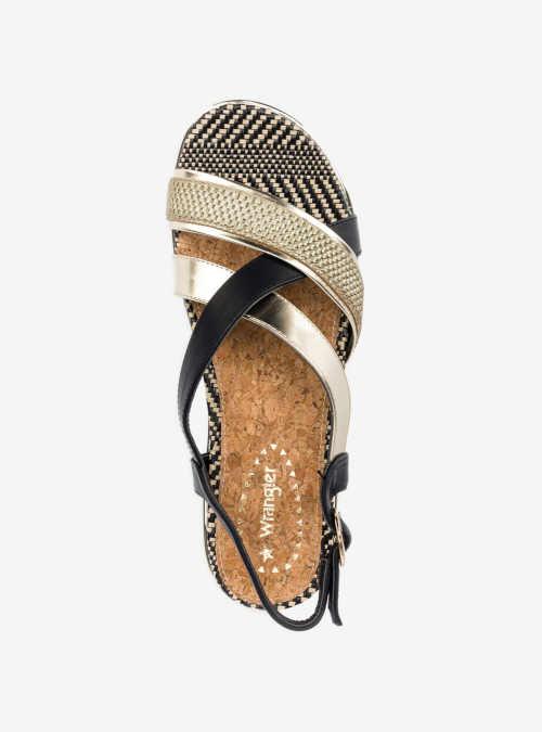 Letné čierno-zlaté sandále s remienkom