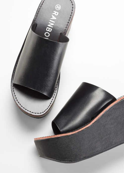 Papuče na platforme z kvalitného materiálu