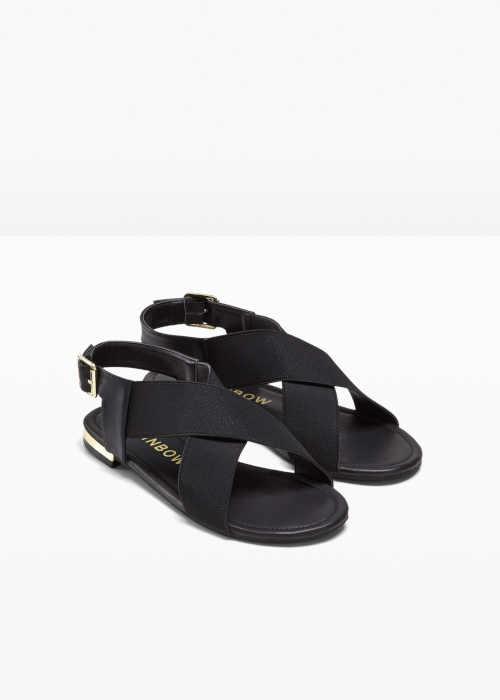 Čierne dámske nízke sandále