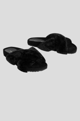 Dámske čierne papuče s umelou kožušinou