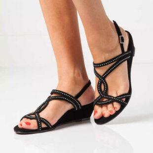 Sandále na klinoch s flitrami v 3 farbách
