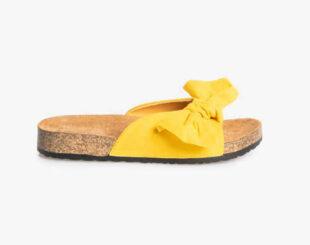 Žlté dámske papuče zdobené mašľou